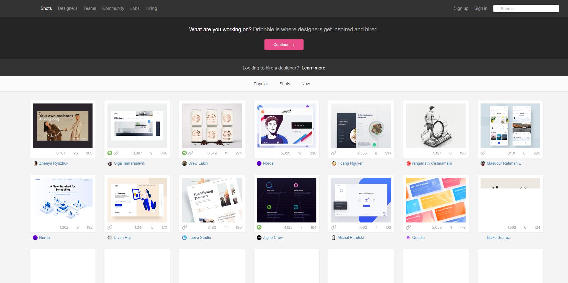 dribbble | 全球优秀设计师最佳交流展示平台